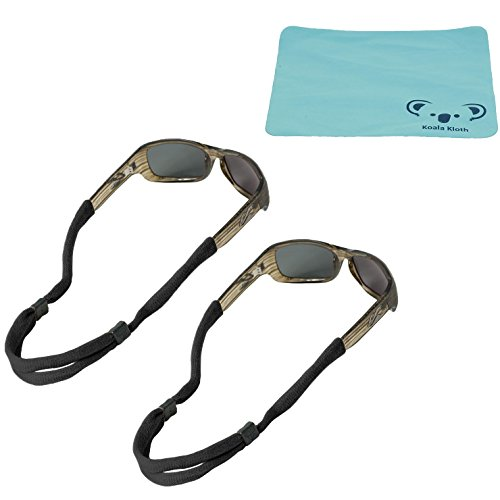 Koala Lifestyle Chums No Tail Cotton Eyewear Retainer Sunglass Strap | Adjustable Eyeglass & Sports Glasses Holder Keeper Lanyard | 2pk Bundle + Cloth, Black