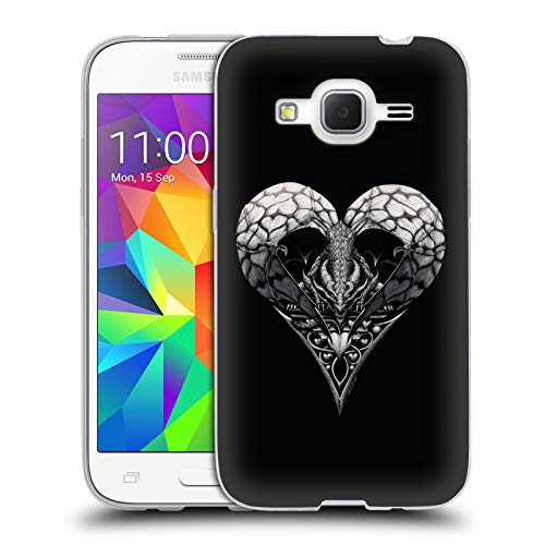 Head Case Designs Officially Licensed Stanley Morrison Gothic Dragon Heart Black and White Soft Gel Case Compatible with Samsung Galaxy Core Prime