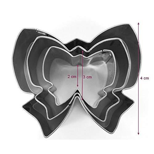 DTM-SOL Lot de 3 minis emporte-pièces Noeuds en INOX Alimentaire, Diamètre 2, 3, 4 cm