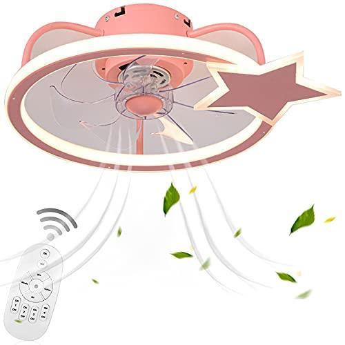 VOMI Led de Techo con Fan Control Remoto Lámpara Plafon Fan con Paralume in Acrilico Regulable 3 Velocidades, 7 Aspas, Ventilador de Luz de Techo Silencioso 80W para Cuarto de Los Niños, Rosa