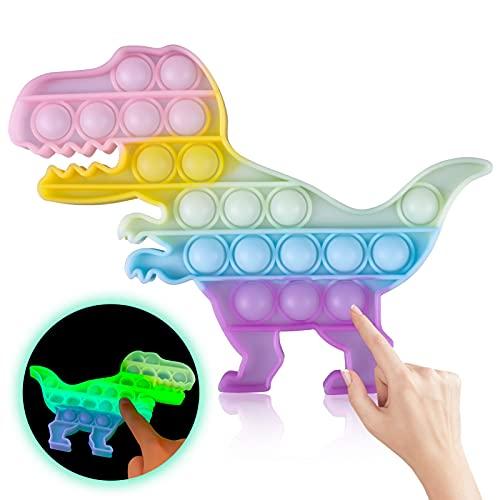Skisneostype Push Pop Pop Bubble Poppet Fidget Toy, Fluoreszierend Dinosaurier Popet Spielzeug, Figetttoys, Antistress Plopper Spielzeug, Sensory Squeeze Toys für Menschen mit ADHS oder Autismus