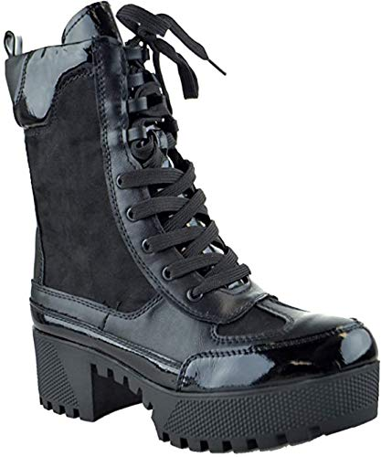 BAMBOO Powerful-06s Women Military Combat Lace Up Lug Sole Ankle High Boots Multi Color (Black, Numeric_8)