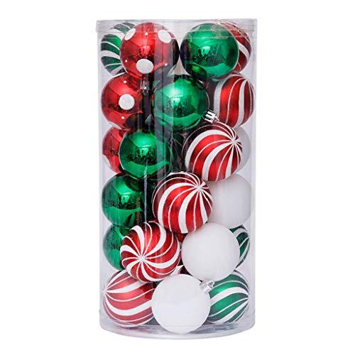 Catyrre 30 palline di Natale da 6 cm, decorazione verde e rosso dipinto, per albero di Natale, decorazione da appendere