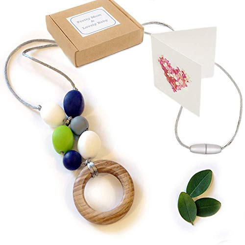 'Eiche Ring' Silikon Zahnen Halskette; New Teething Necklace, Gift Box & Greeting Card; Natural Organic Oak Wood & Silicone Beads Jewellery