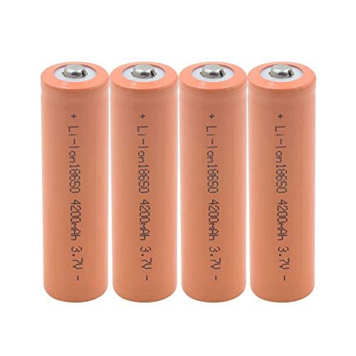 prbll 18650 3.7v 4200mah Batería De Litio, BateríAs De Iones De Litio Recargables para Linterna Faro MicróFono De Banco De Energía 4pieces