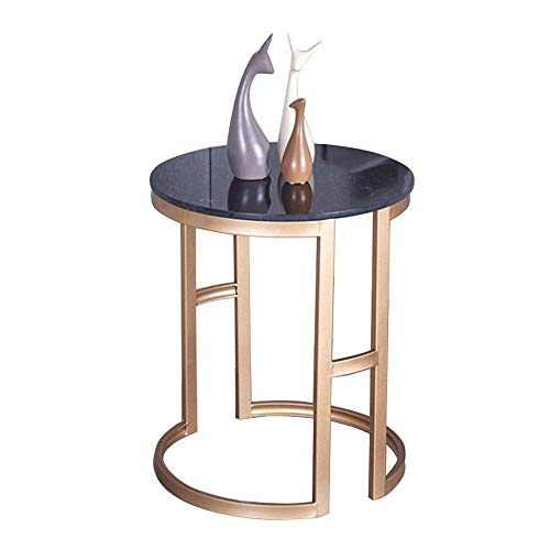LYYJIAJU Small Coffee Tables Living Room Park Living Room Dining Table, Marble Top Hollow Round, Small Metal Frame Geometric Eyelet Pattern Modern Stylish Bedside Table Bedroom Furniture