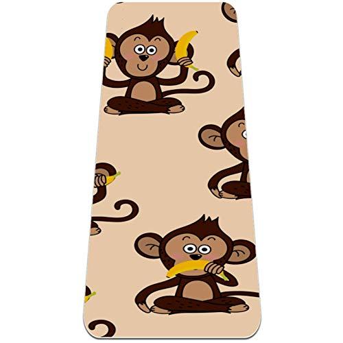 AIBILI Esterilla de yoga respetuosa con el medio ambiente, antideslizante, alfombrilla de entrenamiento de amortiguación óptima para mujeres y hombres (72 x 24 x 6 mm) lindo mono