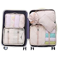 Including : 6pcs packing organizers set ( 3 different size clothes storage bags , 1 bra underwear bag , 1 shoes bag , 1 toiletry bag ) Use:1.clothes bag L:10-12 shirts;2.clothes bag M:6-8 shirts;3.Clothes bag S:4-6 shirts;4.bra underwear bag:for bra ...