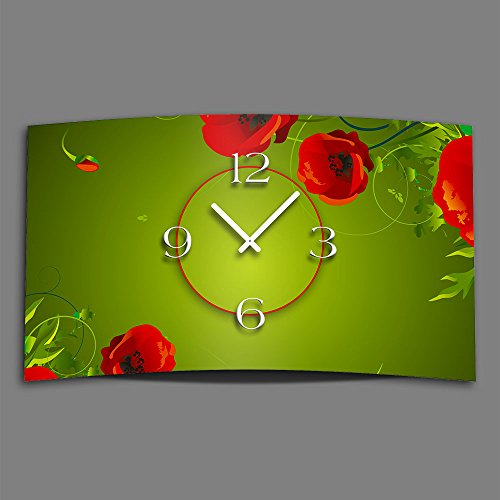 DIXTIME 3DS-0419 Digital Designer Art Poppy Designer Wall Clock Abstract Modern Wall Clocks Design Quiet No Ticking