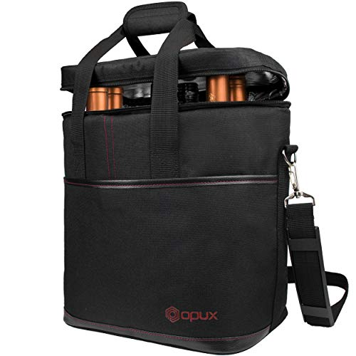 Premium Insulated 6 Bottle Wine Carrier Tote Bag | Wine Travel Bag with Shoulder Strap and Padded Protection | Wine Cooler Bag (Black)