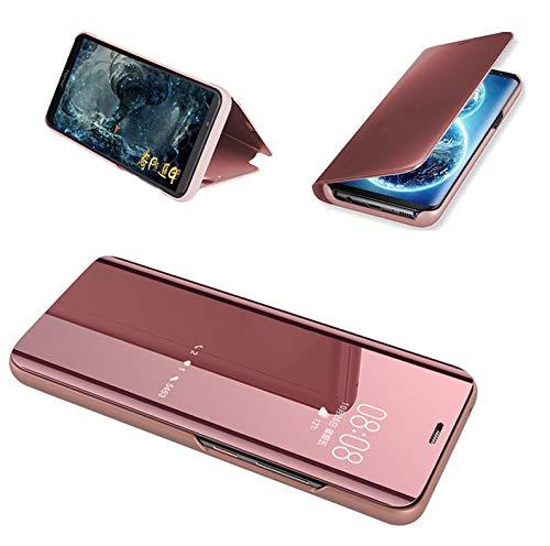 FullProtecter Xiaomi Mi Mix 3 Clear View Cover Flip Carcasa para Smartphone Case Silicona TPU de Teléfono + [Protector de Pantalla de Vidrio Templado] Xiaomi Mi Mix 3-Rose Oro