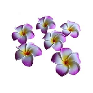 Dream-catching Dresses 10Pcs/lot Plumeria Hawaiian PE Foam Frangipani Artificial Flower Headdress Flowers Egg Flowers Wedding Decoration Party Supplies-A05-Purple-9cm
