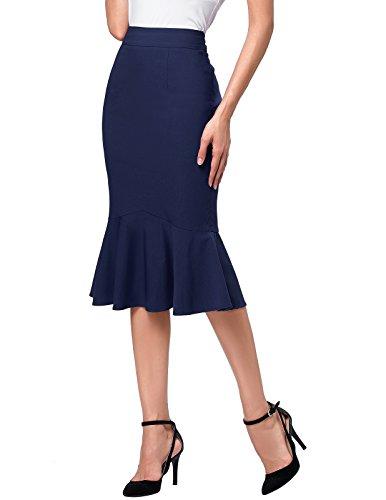 Kate Kasin Women Elegant High Waist Bodycon Midi Wear to Work Skirts M...