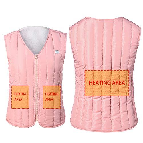 WYBY Frauen Selbstanbau Heizweste, Freizeit 5V Sicherheitsspannung Waschbare Jacke, Geeignet zum Skifahren, Klettern Camping (Pink & Black) Pink-S