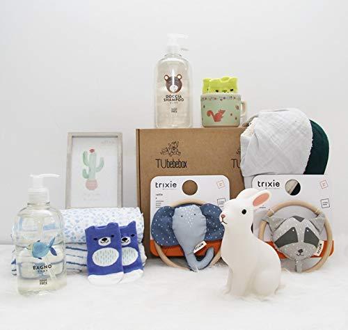 Canastilla bebé recién nacido - Cesta regalo bebé unisex - Incluye productos para primeros meses del bebé, muselina Aden Anais, cosmético natural bebé y 7 productos más de puericultura