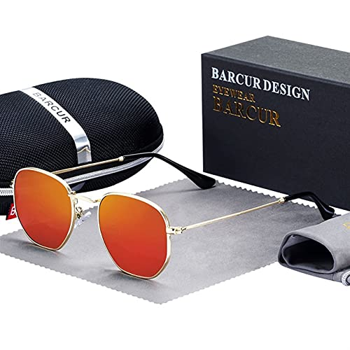 Clásico retro reflectante gafas de sol hombre hexágono gafas de sol marco de metal gafas de sol con caja oculos de sol gafas polarizadas gafas de sol polarizadas hombres frescos para mujer deportes