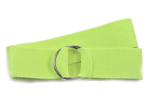 NYFASHION101 Unisex Canvas Stretch Elastic Belt w/Silver Metal Round Buckle, Lime Green