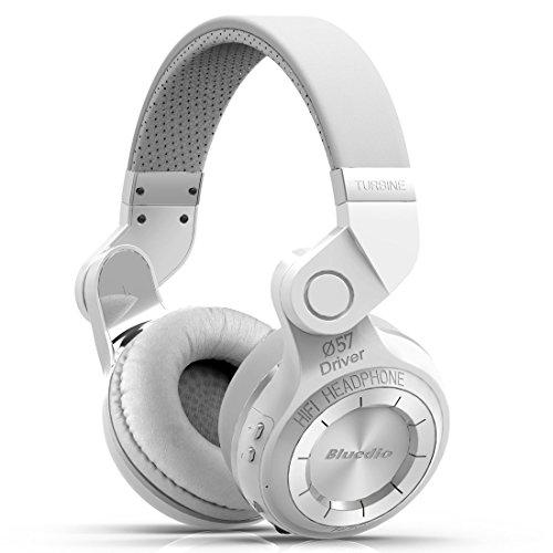 Bluedio T2 Turbine Bluetooth Wireless Stereo Rotary Headphones with Mic, 57mm Drivers, White
