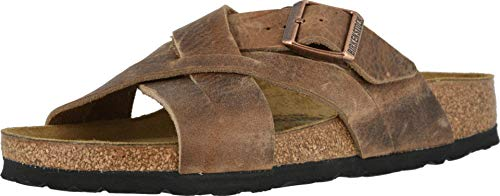 Birkenstock Mens Lugano Sandal, Camberra Tobacco Oiled Leather, Size 44 EU (11-11.5 M US Men)