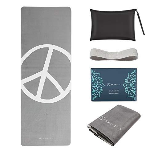 Estera de yoga de viaje SNAKUGA, plegable, de 1/16 pulgadas de grosor, antideslizante,...