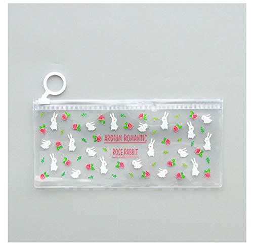 Briefpapier Tasche transparent PVC Federmäppchen 20 * 9,3 cm Kaninchen Blumenmuster