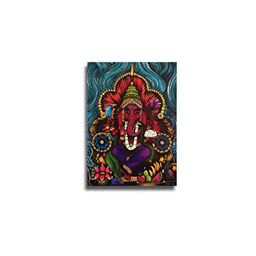 N / A Red Elephant God Canvas Painting HD Stampa Wall Art Picture for Home Church Decoration Pittura a Olio Senza Cornice 50x75cm