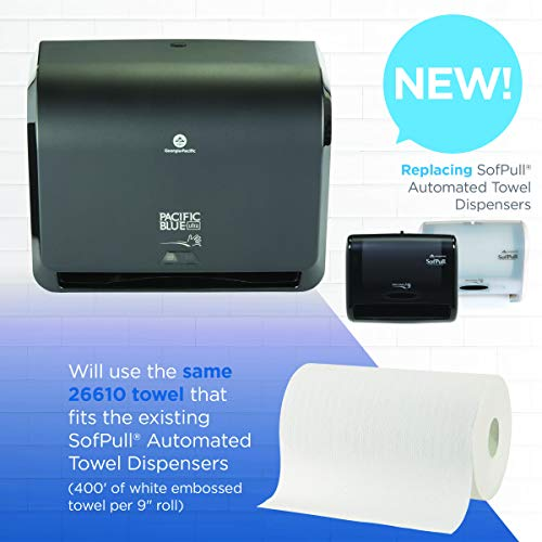 "Pacific Blue Ultra 9"" Mini Automatic Paper Towel Dispenser by GP PRO (Georgia-Pacific), Black, 54518, 14.1"" W x 6.5"" D x 11.1"" H - New Version"
