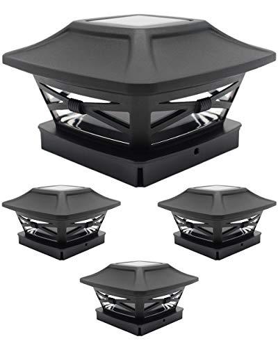 Davinci Lighting - Renaissance Solar Post Cap Lights - Fits 4x4 Post Fence or Deck Rail - Bright Outdoor Wireless LED Light - Slate Black (4 Pack)