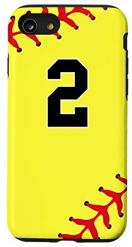 iPhone SE (2020) / 7 / 8 Softball Number 2 Jersey Uniform Gift for Girls Women Case