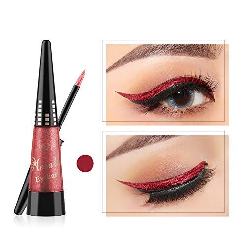 Glitter Augen Liner, ROMANTIC BEAR Glitzer Wasserfest Flüssig Lidschatten Stift Langlebig Schimmer Pigment Metallic Liquid Eyeliner (Rot)