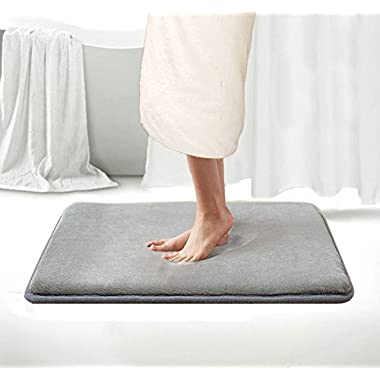 Memory Foam Bath Mat Non Slip Shower Rugs with Soft Comfortable Maximum Absorbency Bath Rug Washable Quickly Drying Bathroom Rugs Carpet (17  X 24 , Gray)