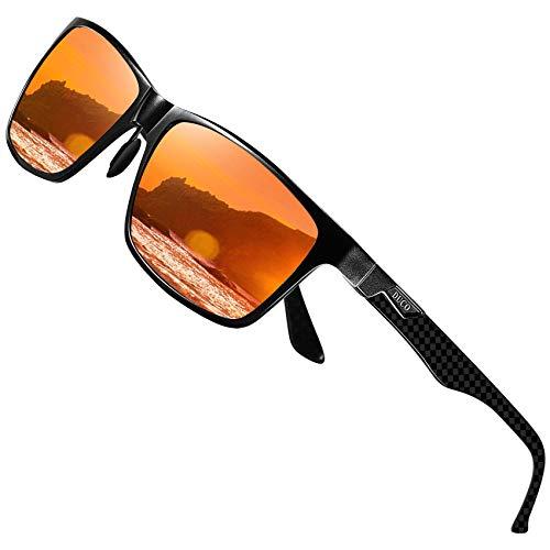 DUCO Herren Polarisierte Sonnenbrille mit Rechteckig Metallrahmen und Kohlefaser Brille Beine UV400 CAT 3 CE 8206 (Schwarz Rahmen Rot Linse)