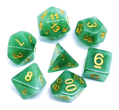 Flexble DND RPG Juego de dados poliédricos de jade verde dados para mazmorras y dragones (D&D) Pathfinder juegos de rol dados de piedras preciosas 7-Die Set dados verdes