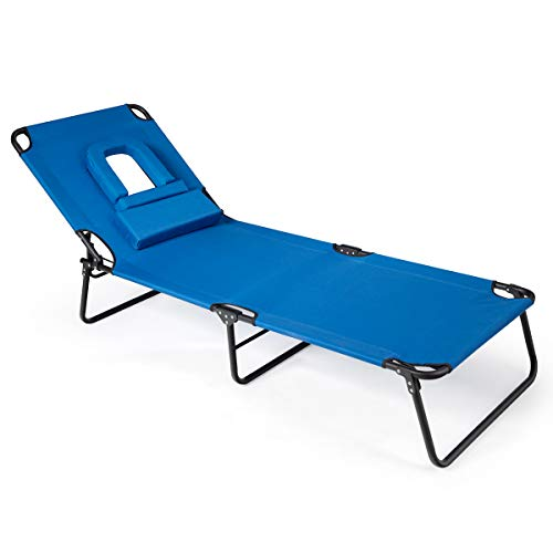 Giantex Adjustable Patio Lounge Chair, Folding Recliner Chaise Lounge with Hole for Face, 3 Positions Adjustable, Durable Metal Structure & Reinforced Beam, Sunbathing Beach Pool Chaise Chair (Blue)