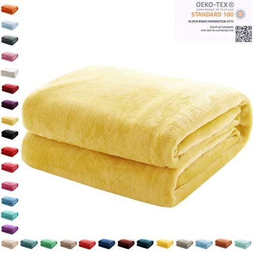 Kuscheldecke Flauschige extra weich & warm Wohndecke Flanell Fleecedecke , Falten beständig/Anti-verfärben als Sofadecke oder Bettüberwurf, Maße Decke Sarah:150 cm x 200 cm, Farbe:Vanille Gelb