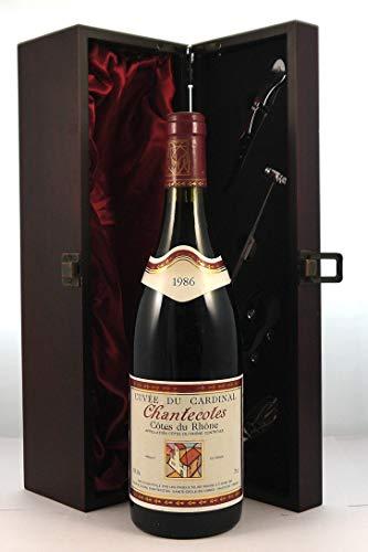 Cotes du Rhone Chantecotes 1986 Cuvee Du Cardinal en una caja de regalo forrada de seda con cuatro accesorios de vino, 1 x 750ml