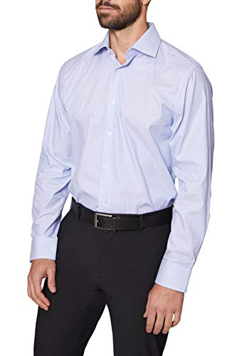 Hickey Freeman Men's Contemporary Fitted Long Dress Shirt, Blue Navy Stripe, 14.5