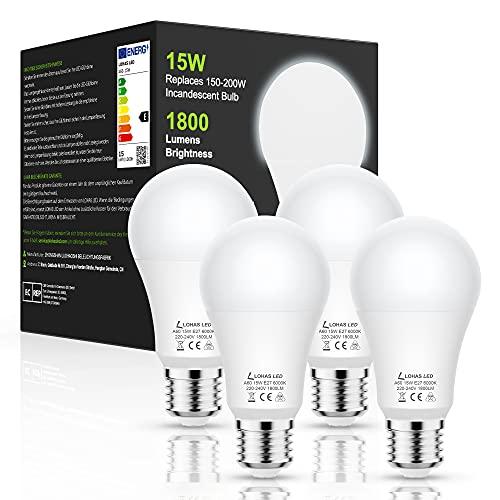 LOHAS Bombilla LED E27 15W, Blanco Frío 6000K, 1800 Lumens, Equivalente a 150W Incandescente, Edison E27 Tornillo Bombillas, Bombilla LED A60 de Ahorro de Energía, No Regulable, 4 Unidades