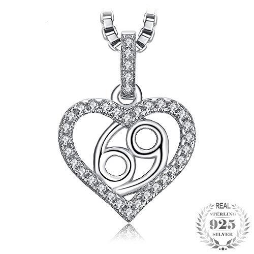 GSYDSZ Constelación del zodiaco Cáncer Corazón Amor 0.2ct Collar de circonitas cúbicas Collar de plata de ley 925 Cadena de caja de 45 cm