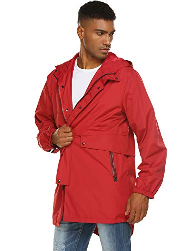 Extra Long Rain Jacket Men's Windbreaker Raincoat Windbreaker with Hood Red L