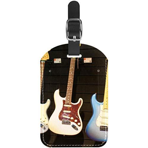 Etiquetas de equipaje para instrumentos musicales, guitarra, cuero, para maleta de viaje, 1 paquete