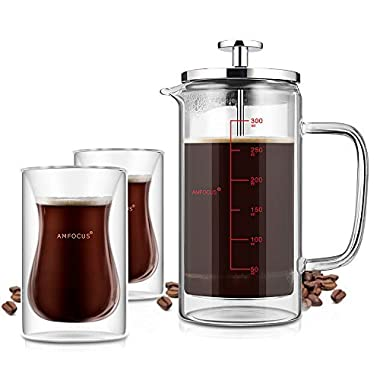 AMFOCUS French Press Coffee Tea Maker with 2 Espresso Cups | Double Wall | Stainless Steel Plunger,350ml/10oz