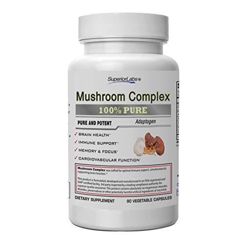 Superior Labs - Nootropic Focus Mushroom Complex - Cordyceps, Lion's Mane, Reishi - Immunity Booster & Mental Clarity - Wellness Complex - 90 Vegetable Capsules