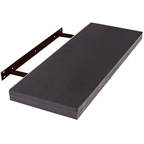 EUGAD Estante Flotante de Pared RetroEstantería de Pared Madera Colgar Libro CD para Salon Dormitorio 120cm Negro 0129QJ