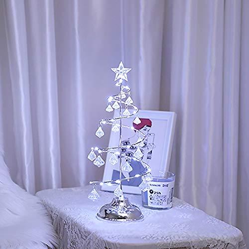 L.J.JZDY Christmas Decorations Christmas Tree Ornaments Home Desktop Decoration Lanterns Crystal Night Light Scene Layout (Color : Silver)