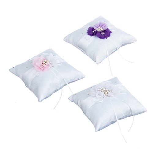 Sharplace Romantische Satin Ringkissen Kristall Blume mit Blumen Dekor - Rosa