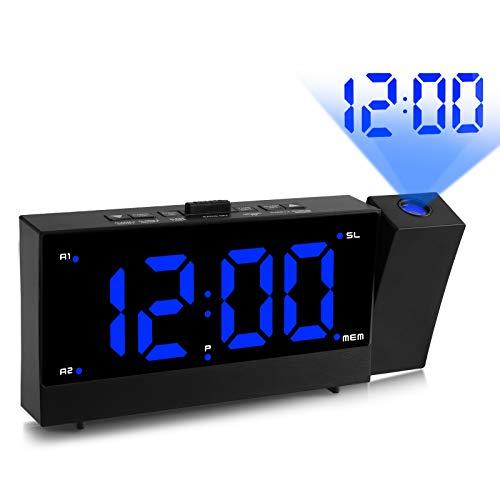 I-WILL Reloj despertador de proyección, gran digital, 180 °, con doble alarma con radio FM, dos puertos de carga USB de 5,5 pulgadas, pantalla LED de espejo, para dormitorio, oficina, color negro