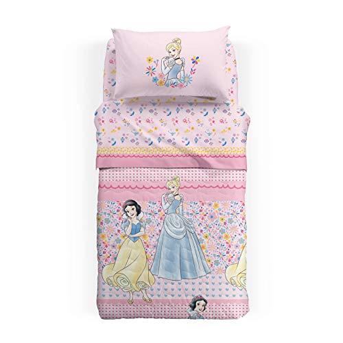 Caleffi Princess Romance Tagesdecke für Frühling, Baumwolle, Einzelbett, französisches Bett, 1002923, Disney