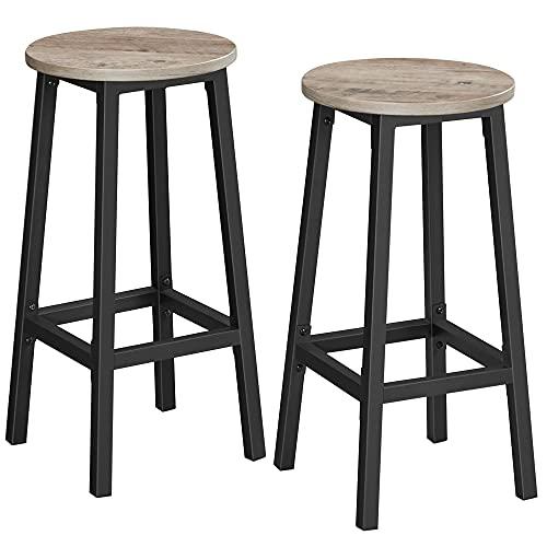 VASAGLE Juego de 2 taburetes de Bar, Taburetes Altos de Cocina, Estructura de Acero, Altura de 65 cm, Fácil de Montar,...