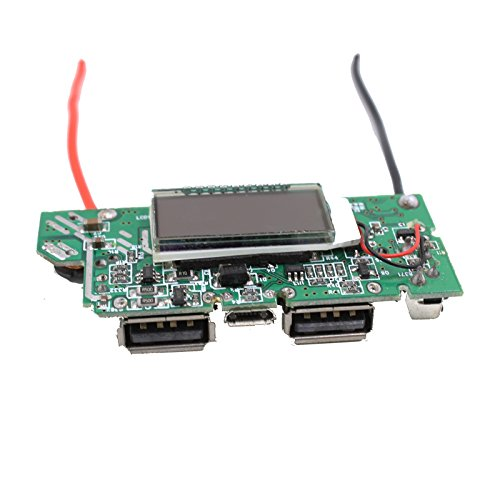 LDTR CCSK-W12 DIY 1.2 Pulgadas LCD Doble Salida USB 5V Boost Módulo PCB con LED for energía móvil - Plata + Azul